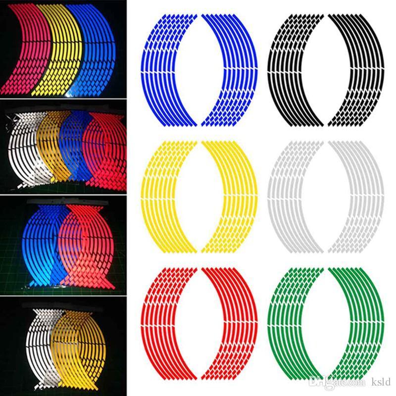 Adesivo nastro riflettente adesivo per auto Cerchio striscia adesivo decalcomania Accessori auto Adesivo nastro adesivo cerchio 16pcs / Set