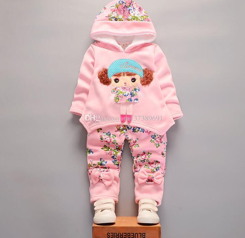 Moda Çocuk Kız Pamuk Giyim Setleri Ekleyin Kış Bebek Hoodies Pantolon 2 Adet / takım Toddler Sıcak Giysiler Çocuklar Eşofman Çocuk açık su