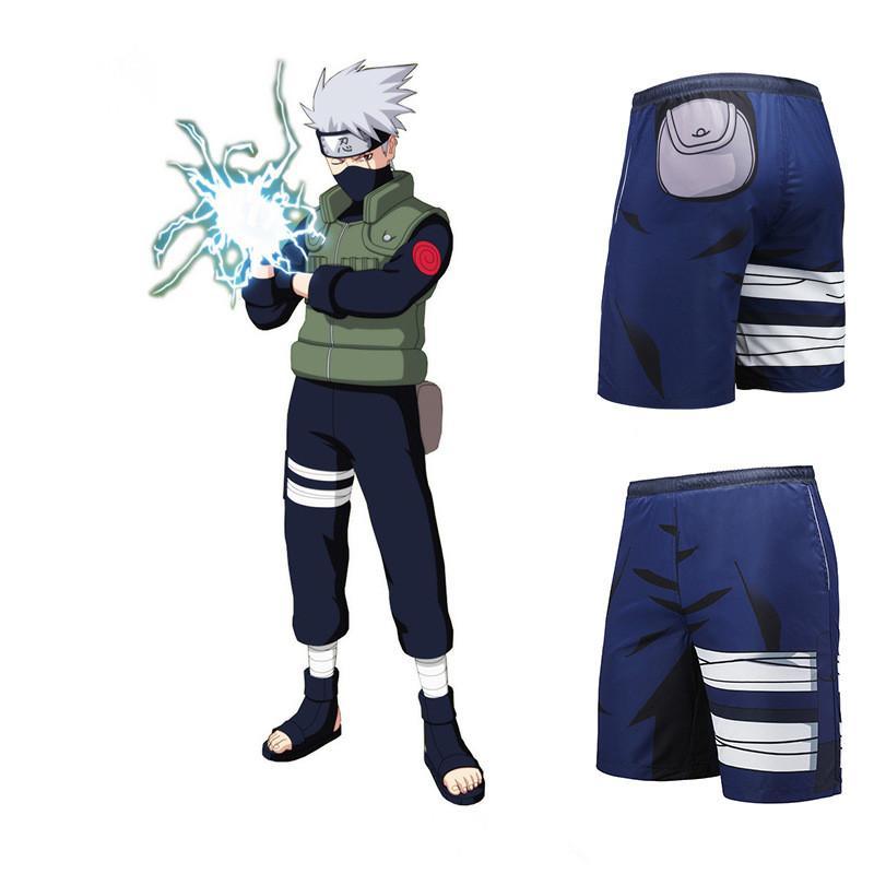 Caliente Un Tamaño Japón Anime Naruto Kakashi Azul Cosplay Disfraz Verano Impresión Playa 3D Pantalones Cortos Flojos de Secado Rápido