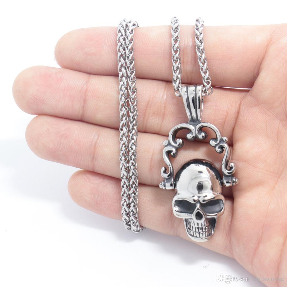 Moda Yeni Ürünler 316L Paslanmaz Çelik Gothic Punk Skull Gümüş Ton Kolye kolye Erkek Erkek Takı