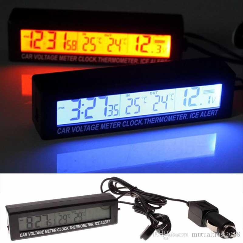 Dual display Voltmeter thermometer digital temperatur 12v 24v 48v 60v 72v car