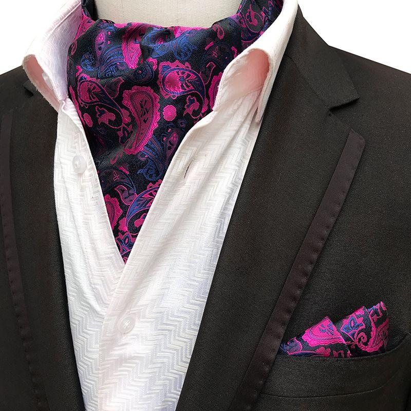 2PCS Men Jacquard Pocket Square novio boda smoking corbata Ascot Scrunch banquete corbata paisley corbata de seda pañuelo conjunto