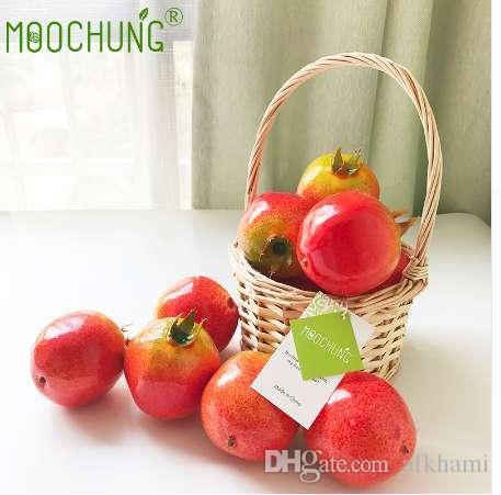 Moochung 10 adet / grup Sahte Yapay Nar Meyve Köpük Meyve Evi Mutfak Düğün Dekorasyon Ev Dekor Fotoğraf sahne
