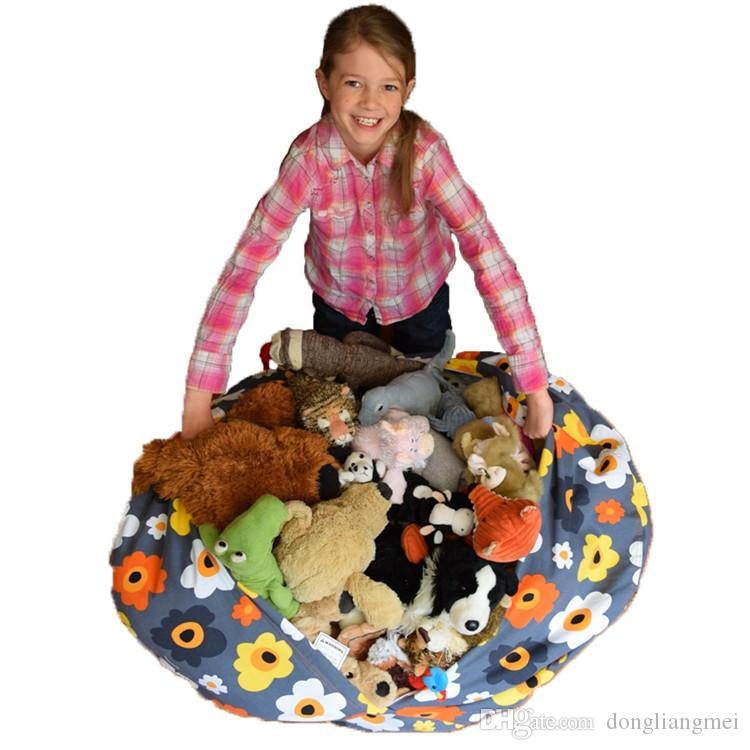 4 Colors 16inch Storage Bean Bags Beanbag Chair Kids Bedroom Stuffed Animal Dolls Organizer Plush Toys Buggy Bags Baby Play Mat wn364