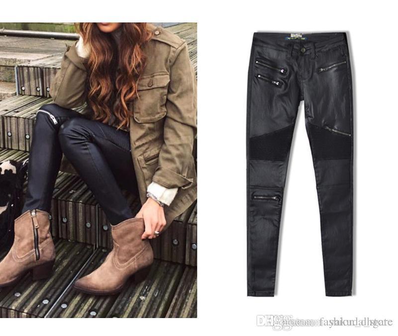 2018 Jeans skinny a vita alta jeans a matita in pelle nera ecopelle bottoms in su elastico jeans donna Elasticity Pantaloni donna