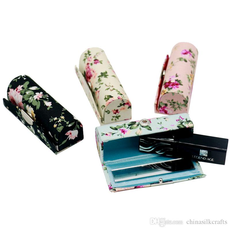 New Portable Flower Mini Gift Box for Empty Lipstick Case Mirror Lip Balm Containers Tubes Cloth Lip Gloss Packaging 2pcs/lot