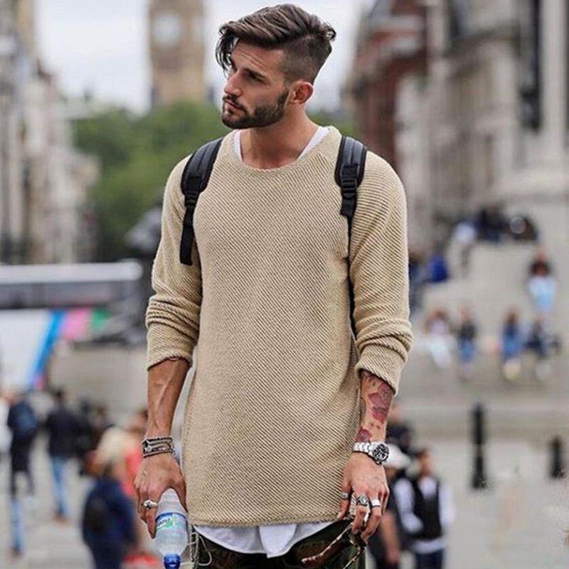 Ocasionales de los hombres suéter de color sólido de manga larga con capucha chaquetas de cuello de O géneros de punto largos puentes de otoño sobredimensiona las tapas de palangre jóvenes