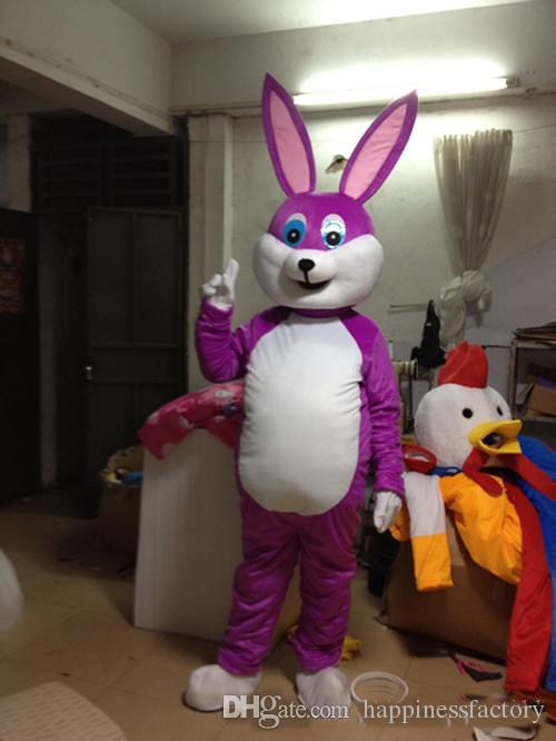 2018 traje de la mascota del conejo púrpura linda fábrica de ropa de dibujos animados personalizada personalizada apoyos caminando muñecas ropa de la muñeca