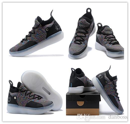 2018 Neueste KD 11 Basketballschuhe Schwarz Grau Chlor Blaue Turnschuhe Kevin Durant 11s Designer Schuhe Herren Trainer Schuh