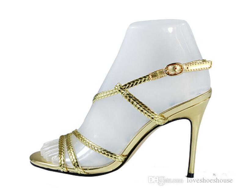 2018 nuove donne di arrivo sandali oro celebrità scarpe sexy color oro tacchi alti scarpe da sposa scarpe da donna tacco sottile partito sandali gladiatore