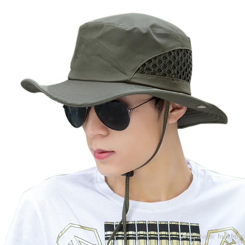الرجال الصيد قبعة شبكة الصيف الصيد قبعة عريضة الحواف حماية من الأشعة فوق رفرف تنفس شاطئ هات