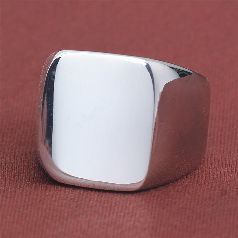 Stainless Steel Square Blank Motorcycle Band Ring Black Gold championship men rings Hip Hop fashion jewelry will and sandy gift