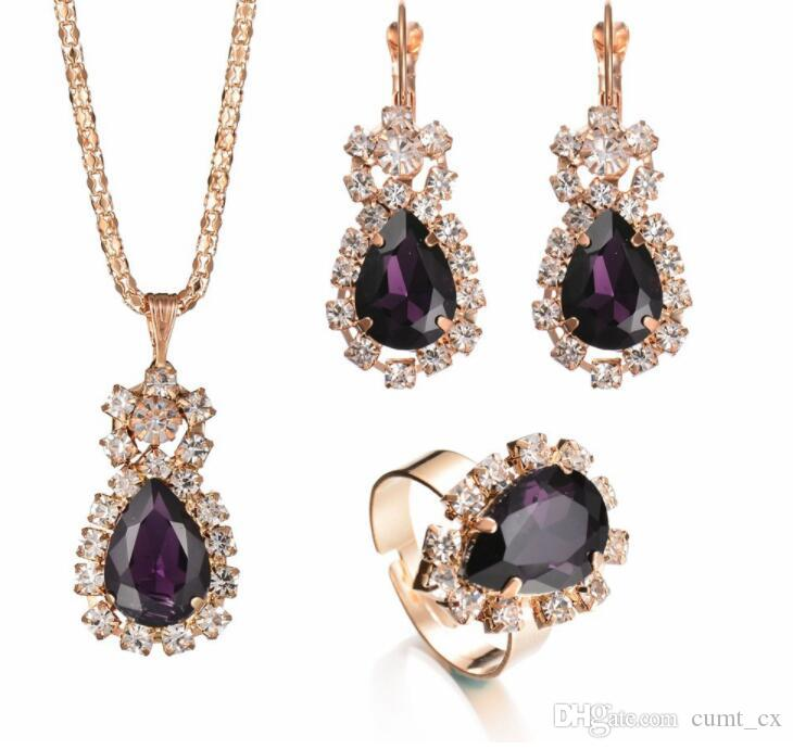 Moda Presente de Casamento Jóias Forma de Gota de Água Cor de Ouro Brincos de Cristal Colar Ajustável Anéis Set Mulheres Conjuntos de Jóias