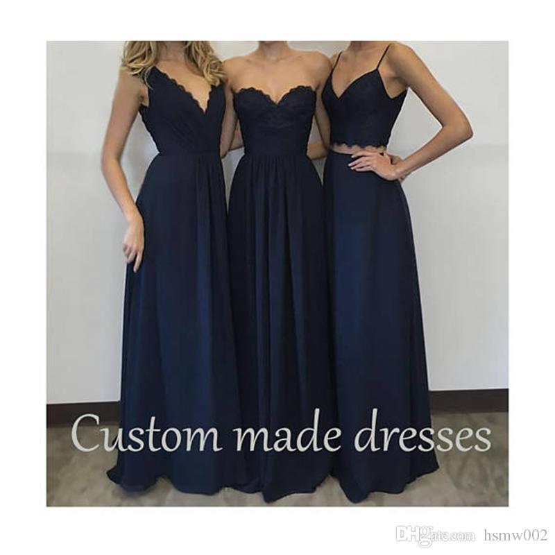 Personnalisé fait longues robes de demoiselle d'honneur bleu foncé parti de soirée de bal de mariage robes de demoiselle d'honneur de charme occasion spéciale Robes Plus Size