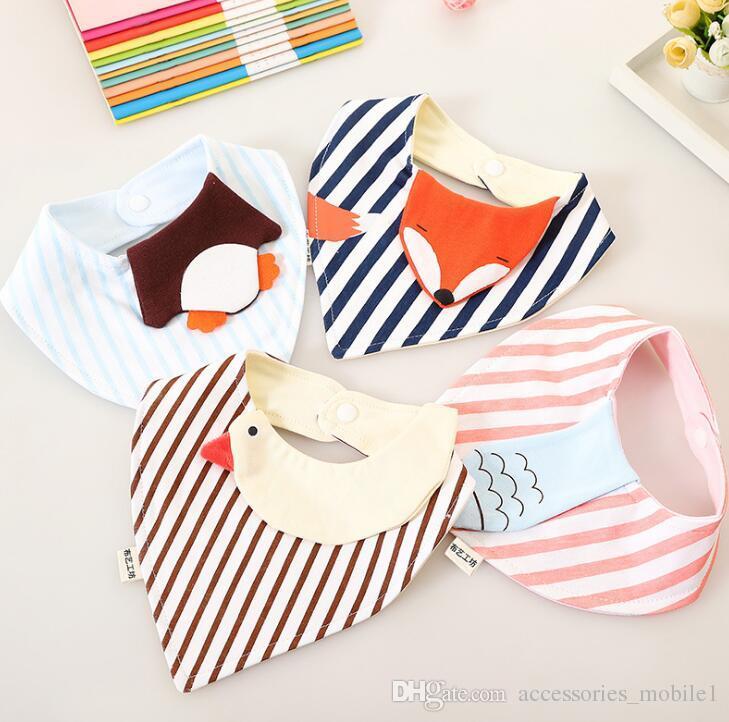 New baby infant triangle Bandana bibs Kids Polka Dot Wave bibs burp cloths Pure cotton double layer bibs bandana scarf