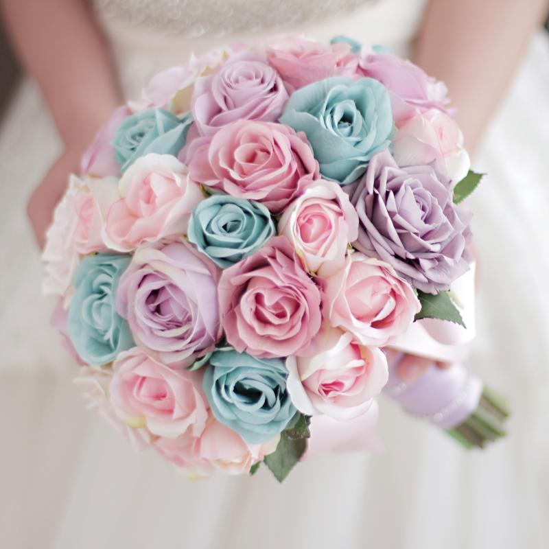 Bouquet Sposa Rose Blu.Acquista Bouquet Da Sposa Colore Caramelle Personalizzate Con Rose Blu Viola Rosa Bouquet Da Sposa Bouquet Di Fiori A 54 28 Dal Golden Phoenix