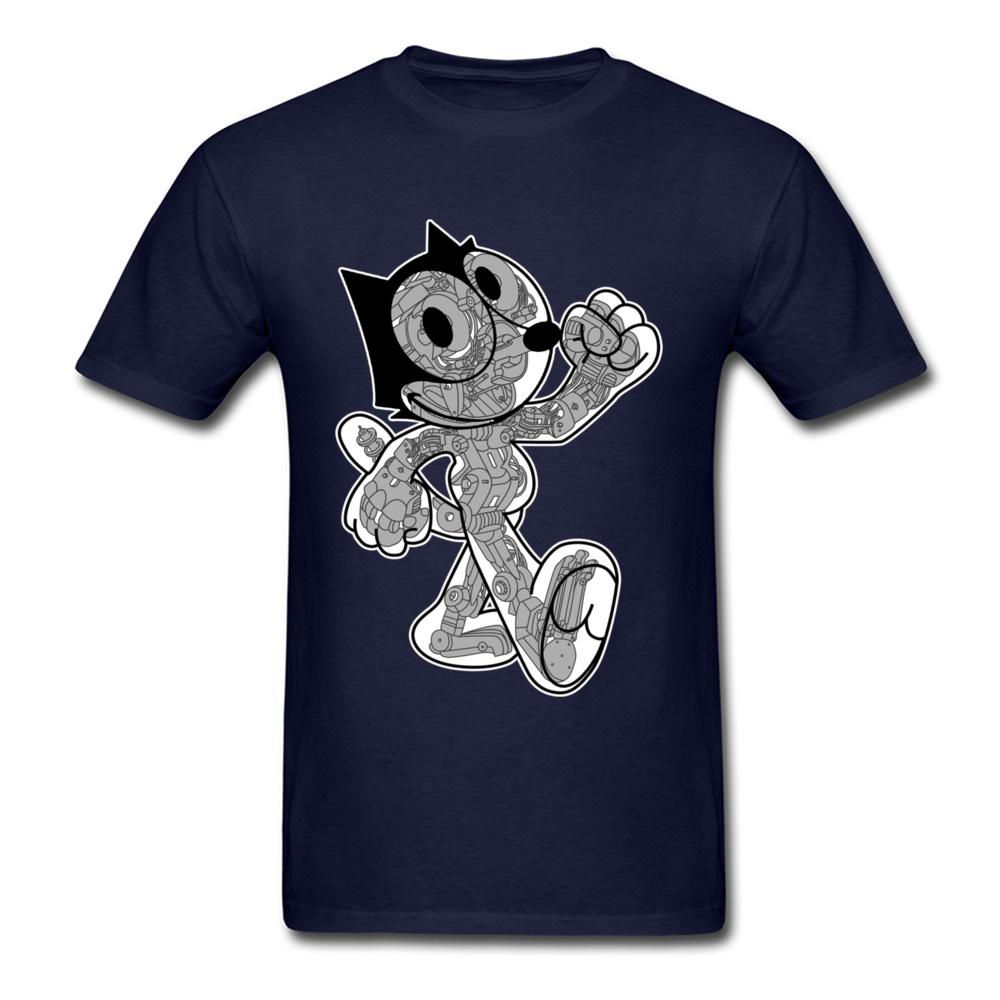 Robot Cat Men Camiseta Camiseta de juego divertido Camiseta de dibujos animados Camiseta Verano Tops azul Camiseta de algodón Geek Guys