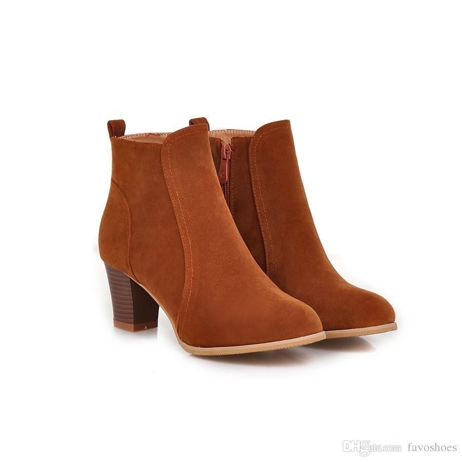 Favofans Confortável Das Mulheres Meninas Do Dedo Do Pé Redondo Sapatos Dedo Do Pé Quadrado Botas de Salto Ankle Boots FF-B211 EUA REINO UNIDO EUR Tamanho Personalizado