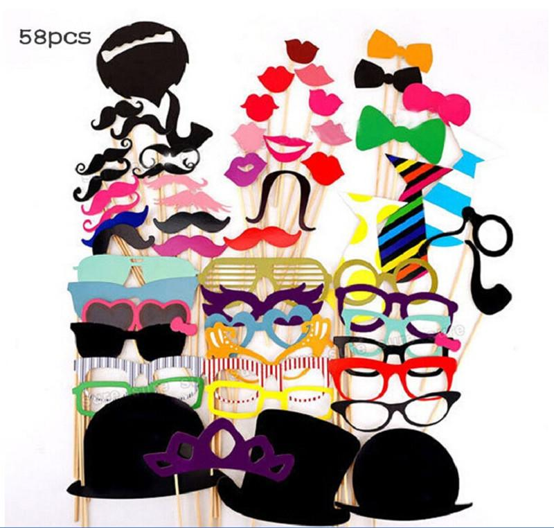 58pcs/set Funny Photo Booth Props Hat Mustache On A Stick Wedding Birthday Party Photographic props