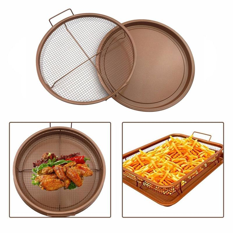 2018 New Copper Crispy Tray Fry Pan French Chef Basket Easy Clean Kitchen Cooking Crispy Tray Baking Pan BBQ Barbecue Tray
