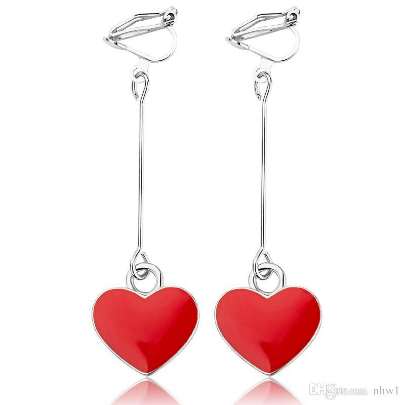 شخصية بسيطة الحب القلب الأذن الكفة أقراط للنساء الفتيات لطيف أحمر أسود القلب قلادة طويلة شرابة انخفاض القرط الإناث brincos هدية