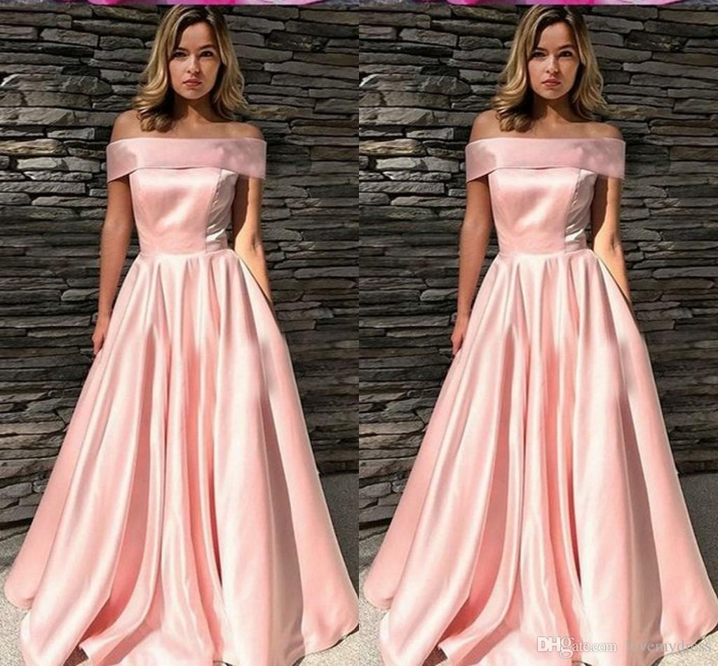 0cd182e6e132 2019 Cheap Off The Shoulder Prom Dress Light Pink Color Open Back A-line Satin  Simple Formal Dress Guests Evening Gowns