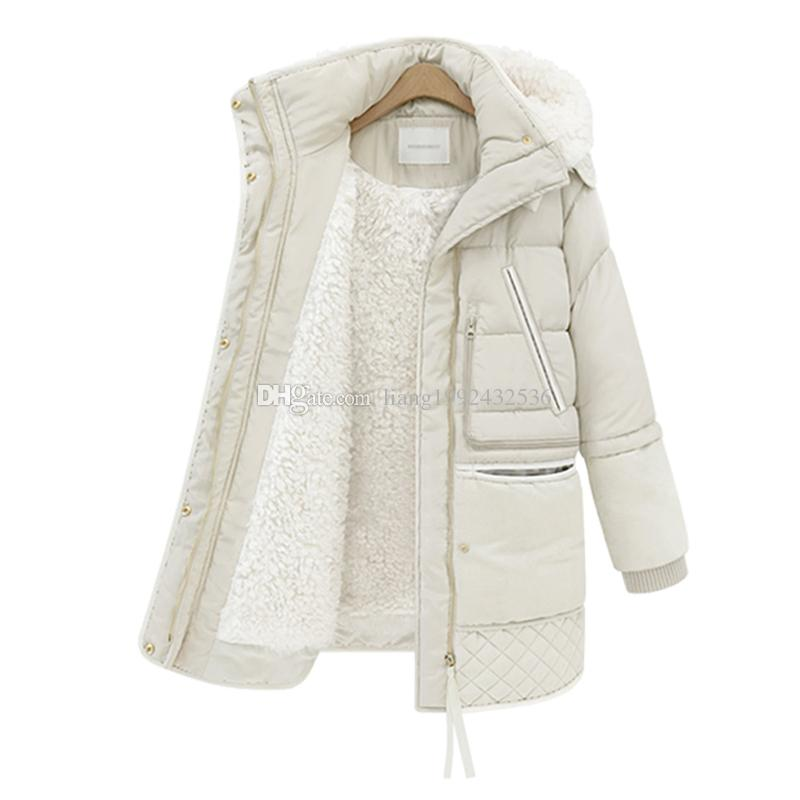 2018 winter women's thick fashion down jacket long lamb coat