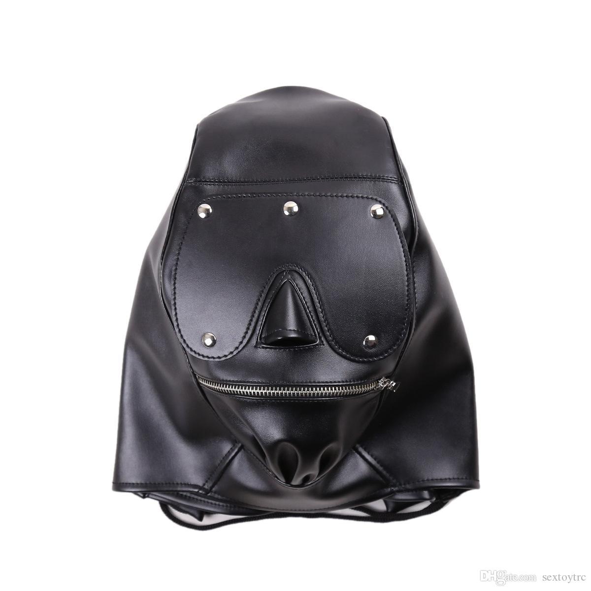 Harnais de fermeture à glissière amplifiée de nouveau-oeil détachable avec coussinet de serviette noire pavé noire jouet avec museau à la bouche fétiche masque de sexe en cuir B030603 raqu