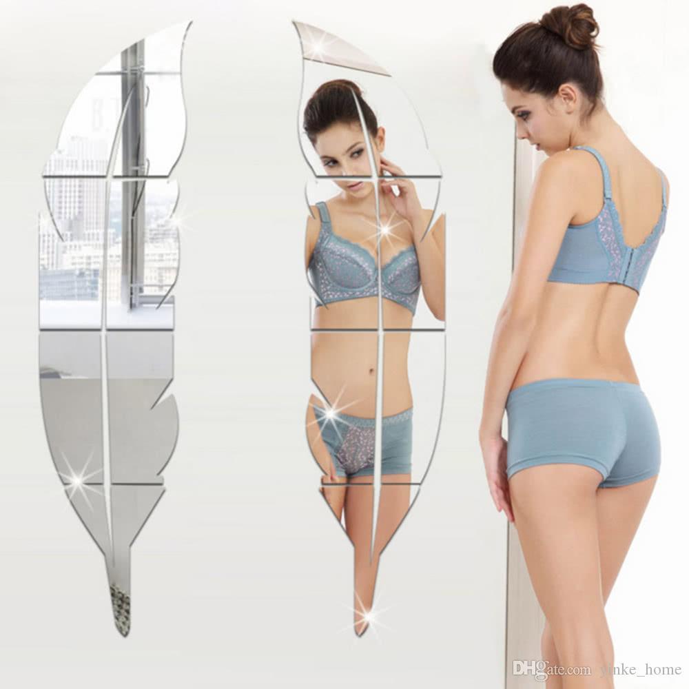 3D-Spiegel-Wand-Aufkleber-Feder-Removable Adhesive Acryl Kunst Wand-Aufkleber Wohnzimmer Schlafzimmer Badezimmer-Dekor