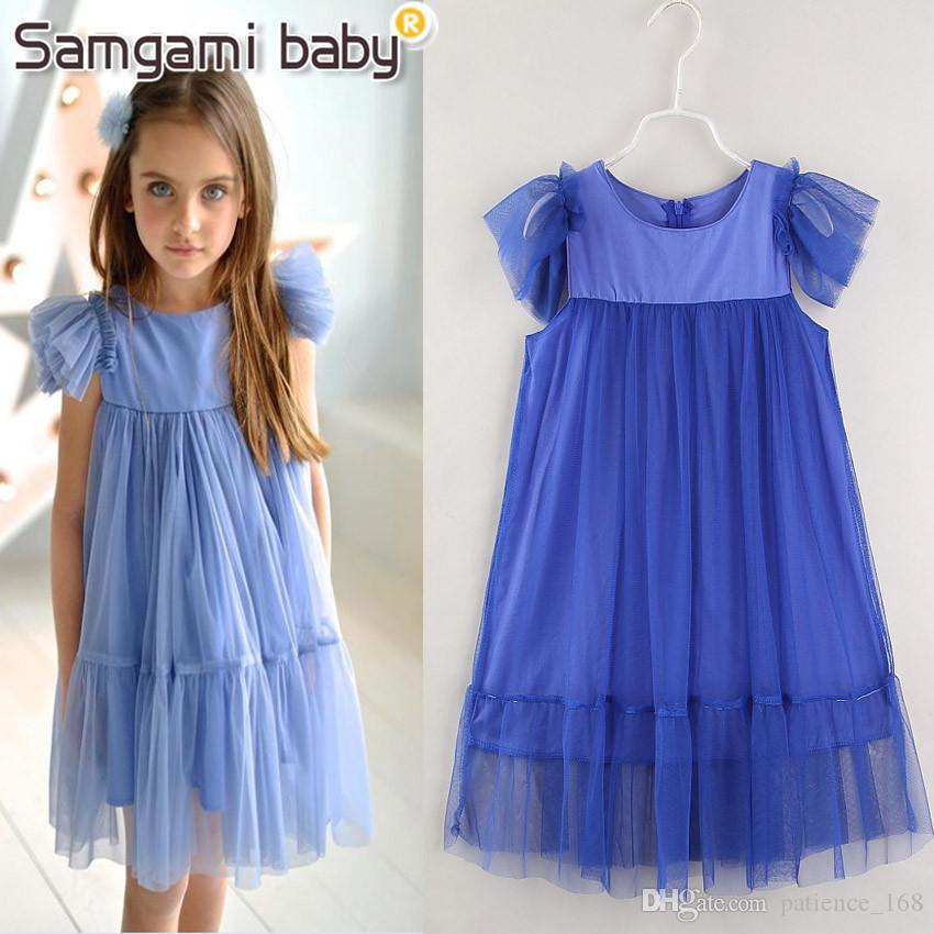dress 2018 INS NEW arrival European and American style summer Sleeveless Pure color gauze Princess Dress kids girls dress 5 colors