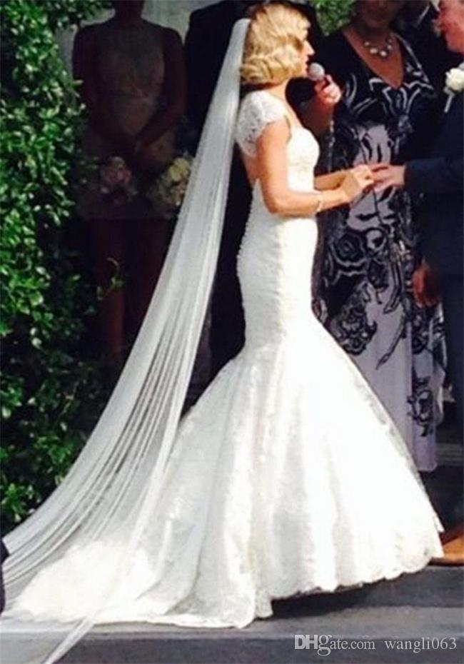 Vintage Lace Mermaid Wedding Dresses with Wrap Backless Sweetheart Court Train Ivory Ruched Tulle Bridal Gowns