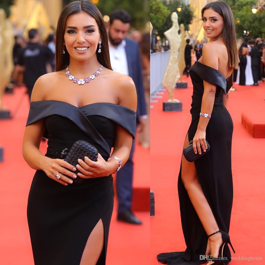 Siyah Kılıf Bölünmüş Yan Gelinlik Modelleri Kapalı Omuz Abiye giyim Vestidos De Fiesta Kat Uzunluk Saten Örgün Elbise