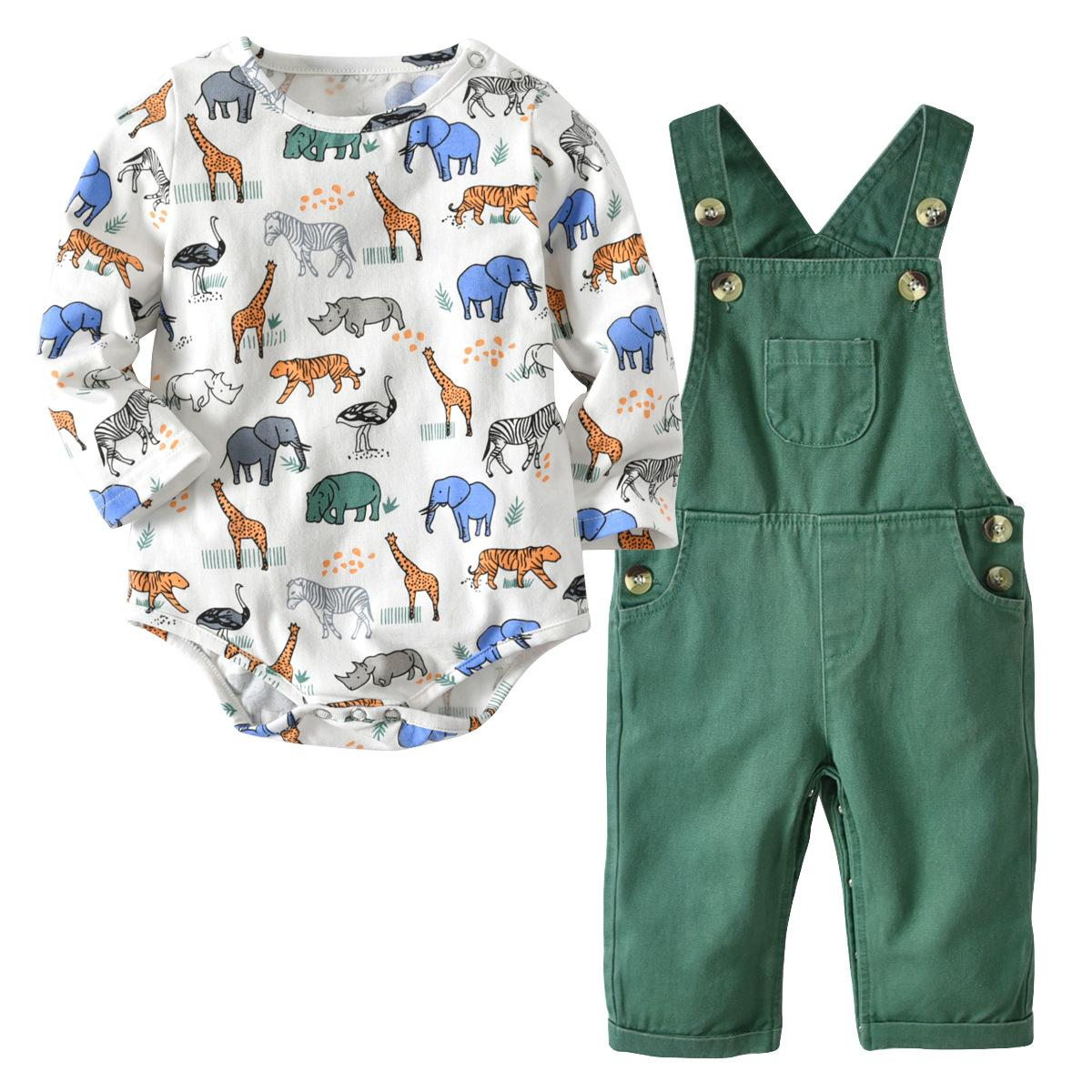 Baby Boy Girl Kleidung Strampler Langarm Frühling Herbst Cartoon Baby Body + Bib Hose Outfit Kinder Set Cute Infant Strampler Overalls