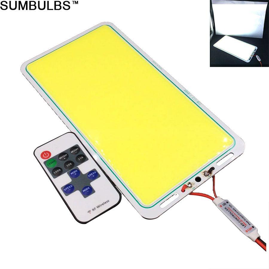 [Sumbulbs] 직사각형 방수 200W DC 12V COB LED 조명 보드 DIY에 대 한 컨트롤러와 함께 야외 자동차 캠핑 조명 피쉬로드 램프