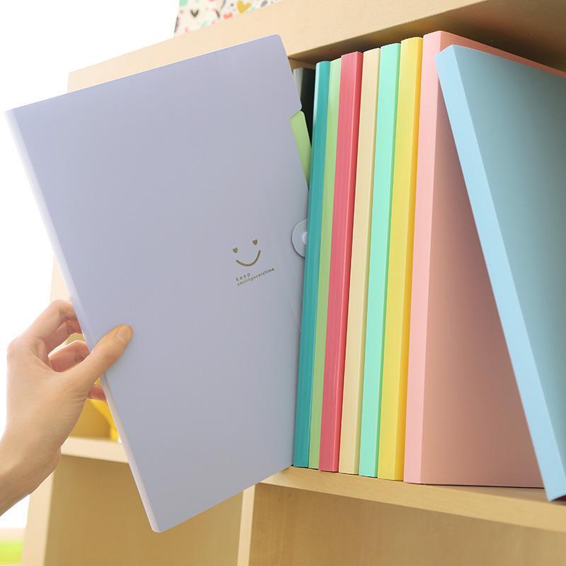 Yeni 4 Renk A4 Kawaii Carpetas Dosyalama Malzemeleri Gülümseme Su Geçirmez Dosya Klasörü 5 Katmanlar Belge Çantası Ofis Kırtasiye