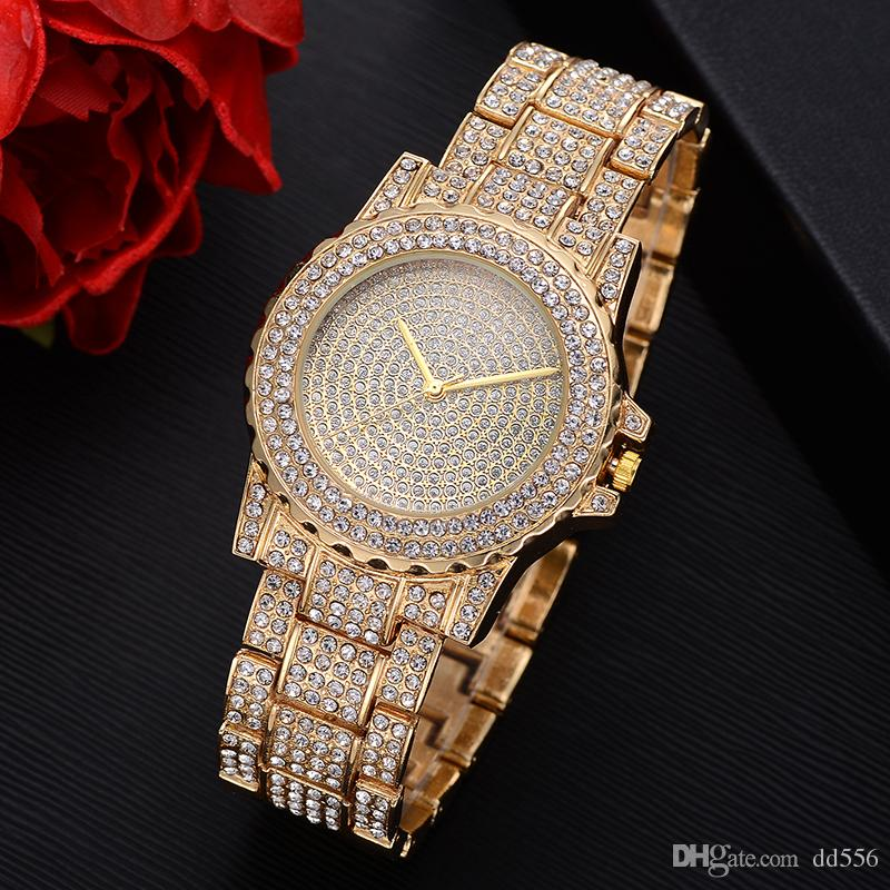 Mens Hip Hop Bling Bling Luxury Iced Out Techno Pave 18K Watch Gold Tone  Heavy Bezel Case Band Simulated Diamond Wrist Watch Gold Watches From  Dd556,