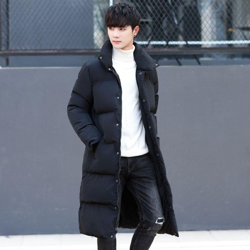 Großhandel Winter Koreanische Slim Fit Herren Lange Parka Mäntel Big Boy Verdicken Daunenjacke Stehkragen Windjacke Warme Mantel Große Größe M 4XL Von
