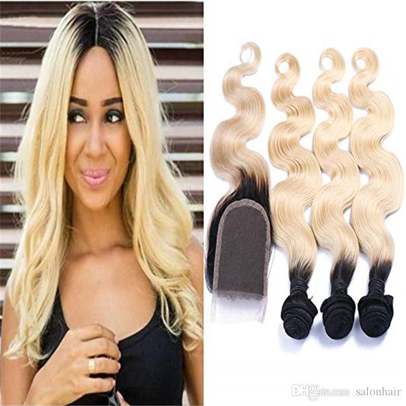 Бразильский девственница 1B 613 блондинка волна тела пучки человеческих волос с закрытием необработанные влажные волнистые пучки человеческих волос с закрытием наращивание волос