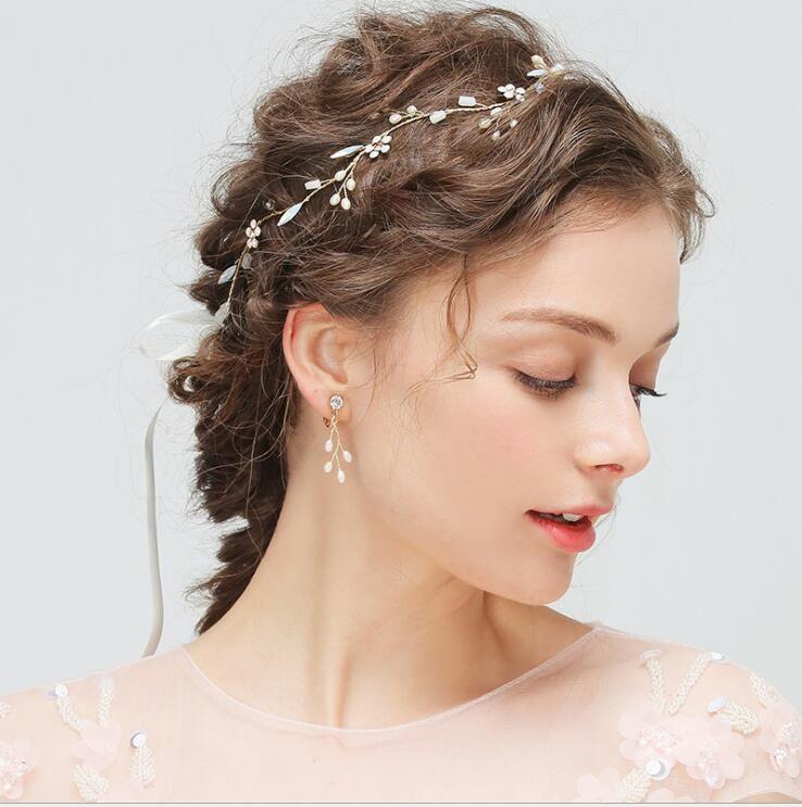 Gold Haar Blumen für Hochzeitsfeier Braut Brautjungfer Barock Chic Kristallperlen Tiara Ohrring Strass Stirnband Hochzeitskleid Studio