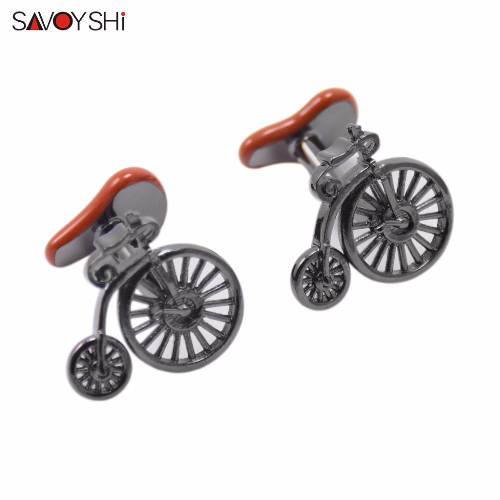 SAVOYSHI marca gemelli della novità della bicicletta per la camicia Mens Cuff Bottoni di alta qualità Brown smalto gemelli dei monili di Fashion Design
