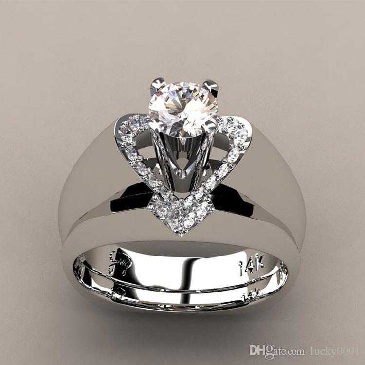 Novo anel de diamante criativo em forma de coração feminino europeu e americano moda generoso anel de noivado set anel atacado