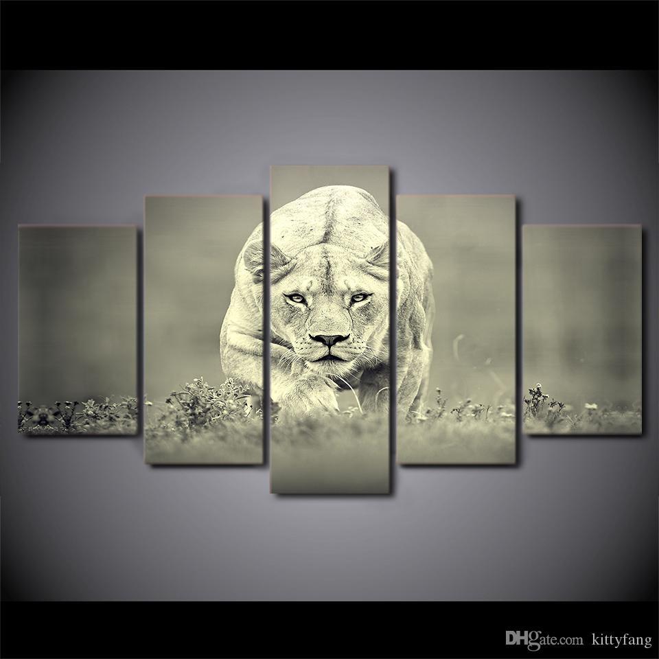 Großhandel 5 Teile / Satz Gerahmte Hd Gedruckt Afrikanischen Lion ...