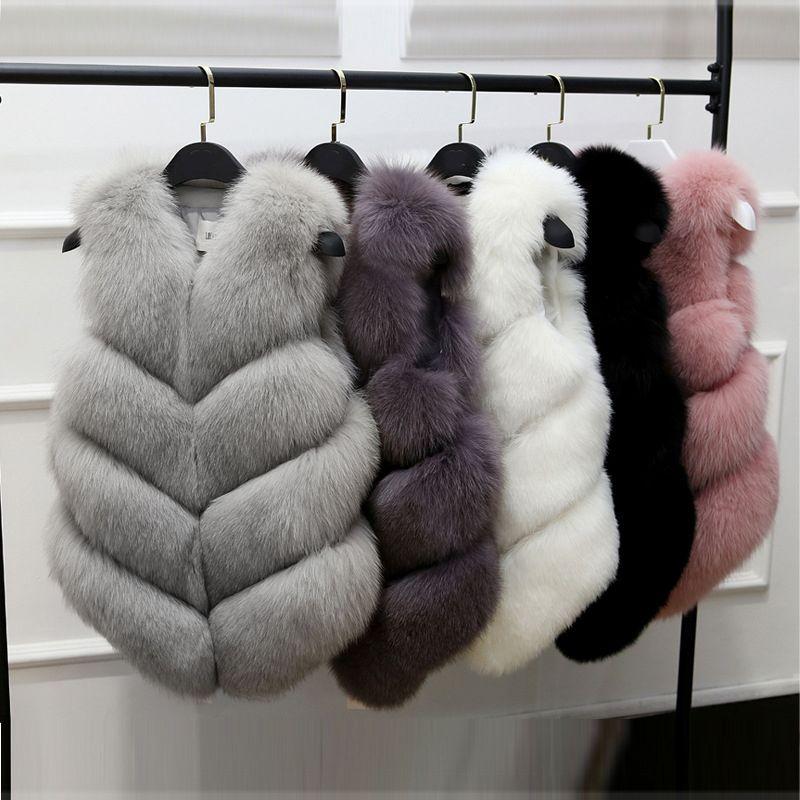 Faux Manteau de fourrure Automne Hiver Femmes 2018 Nouveau Mode Casual Slim manches Manteau en fausse fourrure Gilet Gilet femmes Casaco Feminino