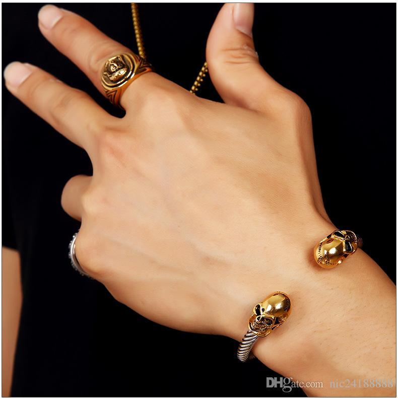 Crânio do ouro charme da moda para aço inoxidável Man pulseira Hip-hop Nightclub Party DJ Speaker expansível Bangle Cuff
