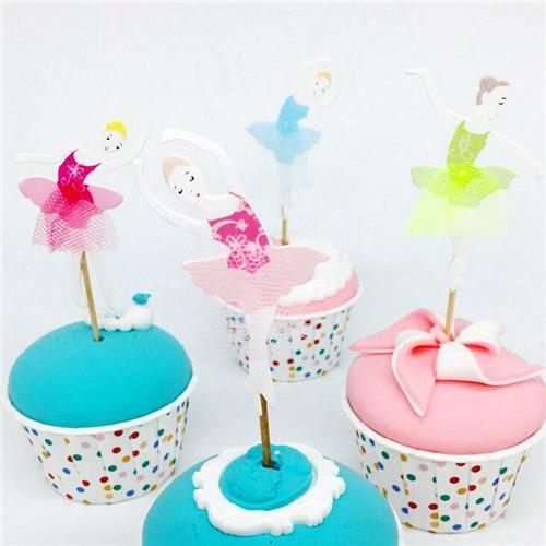 24pcs / set buon compleanno pizzo ballerino ragazza torta inserto scheda ballerina fata cupcake topper raccoglie decorazioni per feste di compleanno