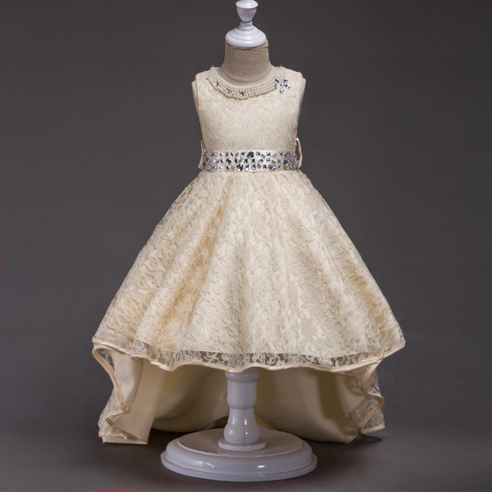 Crianças crianças vestido de princesa vestido meninas aniversário flor trajes de renda cauda