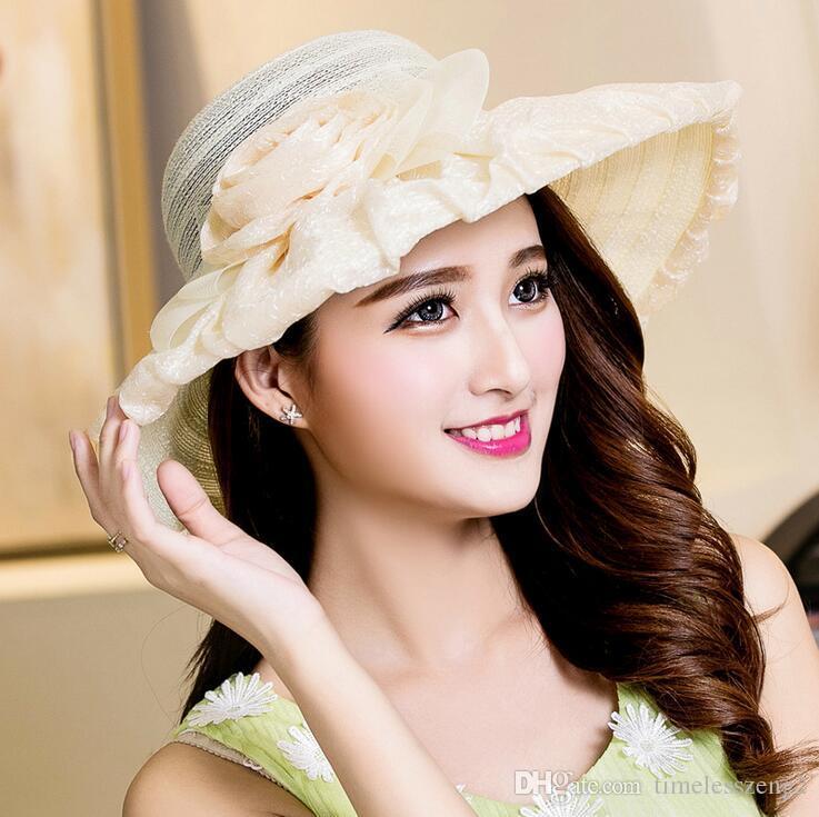 Verão senhora chapéus de aba larga mulheres com renda subiu de praia chapéus de sol menina fontes do casamento proteção chapéu agradável navio livre