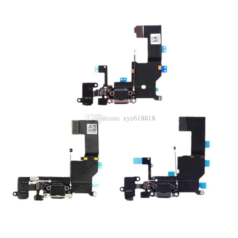 High Quality For iPhone 5 5S 5C 5G Charger Charging Data USB Dock Port Flex Cable with Headphone Audio Microphone