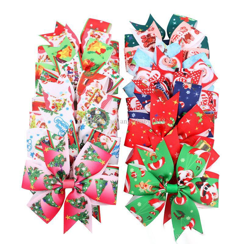 16 Style Christmas baby Girl hairpins dovetail Xmas Barrettes Bow with clip children hair accessories kids Santa Claus print Hair clips