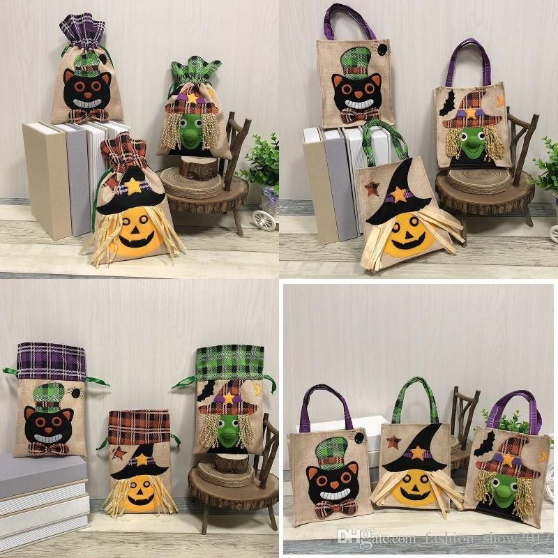 Cartoon Witch Pumpkin Black Cat Pattern Candy Bag Rope Halloween Party Show Favor Decor Spirit Festival Biscuit Kids
